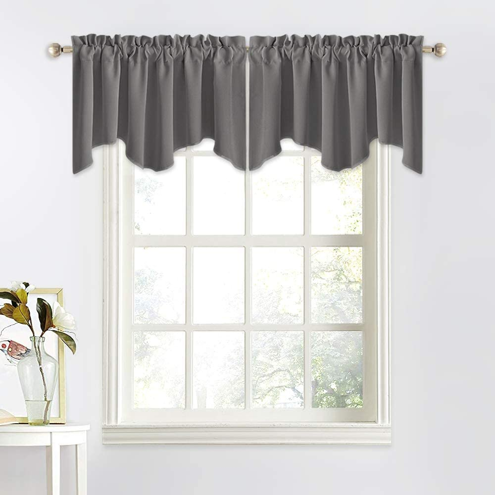 NICETOWN Bedroom Window Blackout Valance - Home Decoration Measures 52 inches Wide by 18 inches Long Scalloped Valance Tier for Kitchen/Living Room (Gray, Sold as 1 Panel)