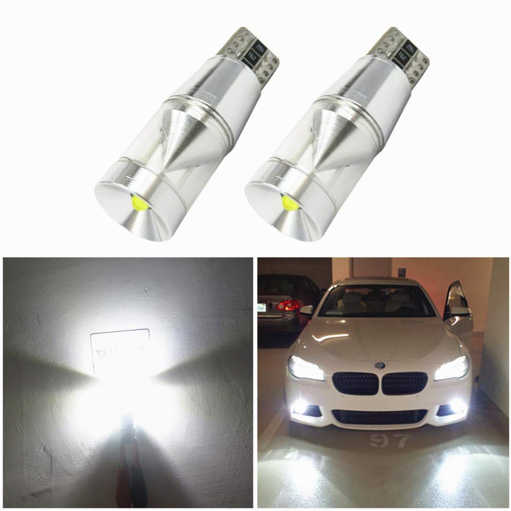WLJH 2pcs T10 194 501 Wedge LED Bulb W5W 168 2825 Cree Canbus Error Free 9W Super Bright White Interior Dome Side Light Marker License Plate Lights Xenon White 6000k