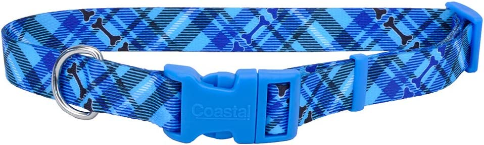 Pet Attire Styles Plaid Bones Adjustable Dog Collar Size from 18 to 28 Inches with a Width of 1 in.