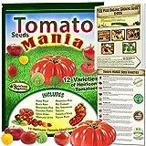 amish paste tomato - Tomato Seeds Mania! 12 Heirloom Tomatoes Varieties - Non-GMO, Open Pollinated, Organic Growing Guide Included. Amish Paste, Black Krim, Brandywine Pink, Cherokee Purple, Green Zebra, Yellow Plum.More