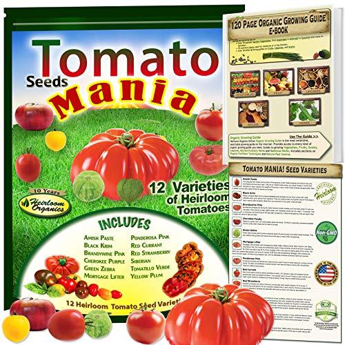 Tomato Seeds Mania! 12 Heirloom Tomatoes Varieties - Non-GMO, Open Pollinated, Organic Growing Guide Included. Amish Paste, Black Krim, Brandywine Pink, Cherokee Purple, Green Zebra, Yellow Plum.More