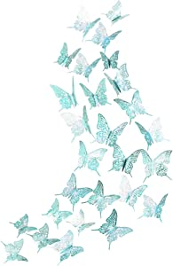 3D Teal Butterfly Wall Sticker kit Metallic Paper Wall Decal Removable Mural Sticker Home Living Room Bedroom Butterflies Theme Decorations Table Cake Decor for Wedding Engegement Birthday Baby Shower