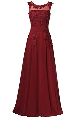 Rjer Women's Strapless Floor Length Appliques Bridesmaid Formal Chiffon Evening Gowns