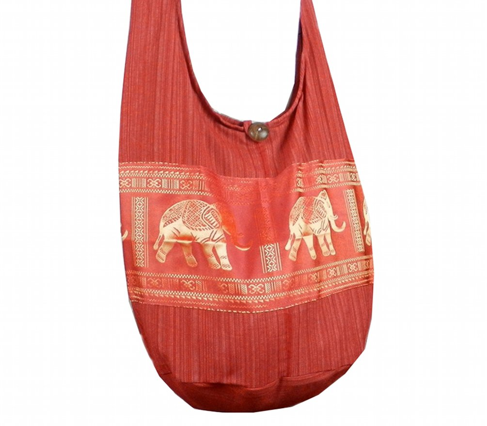 BTP! Hippie Hobo Cotton Sling Crossbody Bag Messenger Purse Elephant in Red EP10