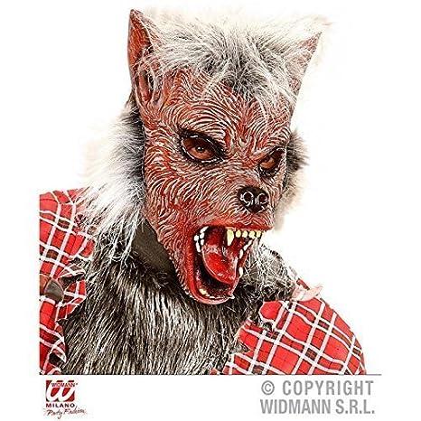 lively moments Máscara Hombre Lobo ROJA CON CABELLO/ werwolfsmaske/ Látex / Máscara de Halloween/werwolfkostüm Accesorio: Amazon.es: Juguetes y juegos