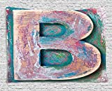 XHFITCLtd Letter B Tapestry, Old Fashioned Print Method Wood Block Alphabet ABC Type Worn Capital B, Wall Hanging for Bedroom Living Room Dorm, 80 W X 60 L Inches, Teal Ivory Dark Coral