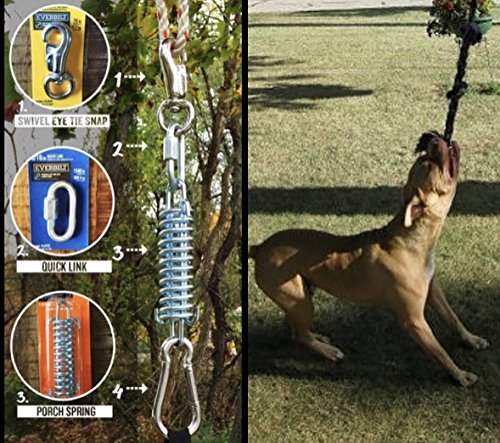 SoCal Bully Pit Bull Spring Pole - (1) Dog Conditioner - Muscle Builder - (1) $15 Value Heavy Duty 3 Knott Tug Rope Toy Included! - Healthy Teeth Flosser-,Fun for all Breeds! - Free Prime Shipping! (Bull Pit Bully)