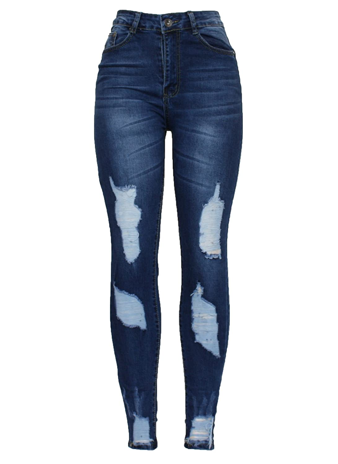 Barfly Fashion New Ladies Womens High Waisted White Blue Black Stretchy Knee Ripped Cut Skinny Slim Fit Denim Tube Pencil Jean Size 6-20