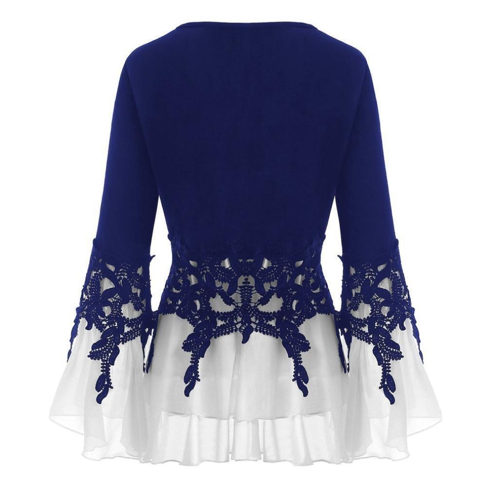Bluse de Mujer, BaZhaHei, Moda para Mujer Apliques Ocasionales de Gasa con Cuello en V Manga Larga Blusa Tops Camisetas de Mujer Manga Larga de Trompeta de ...