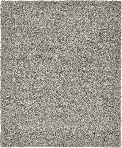 Unique Loom Solid Shag Collection Cloud Gray 8 x 10 Area Rug (8' x 10')