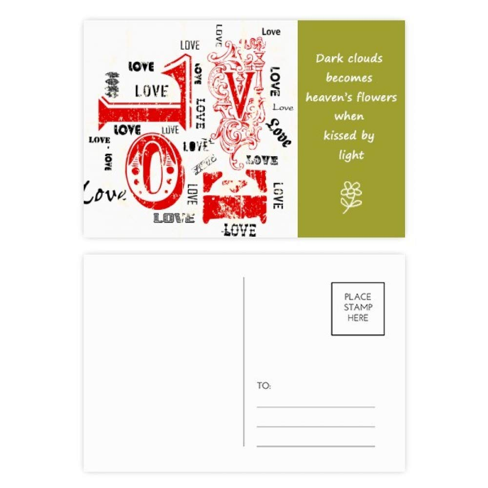 Valentine's Day Red Black Love Poetry Postcard Set Thanks Card Mailing Side 20pcs