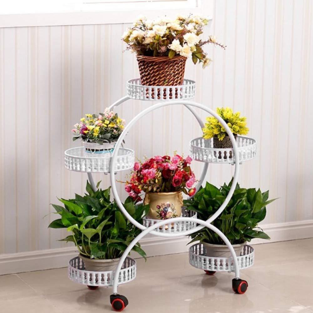 75 * 33 * 77 cm GOTOTO /Étag/ère /à Fleurs Fer Forg/é Porte Plante de 4 Niveaux 6 Corbeilles Support de Pot de Fleurs avec Roue Mobile /à 360 Degr/és pour Jardin Balcon Terrasse