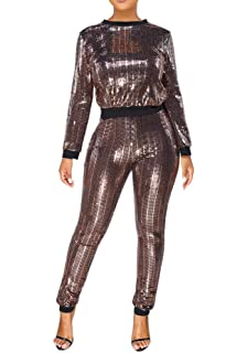 04cda20e8eb Adogirl Womens Sexy 2 Piece Outfits Glitter Sequin Metallic Top and Pants  Set Bodycon Jumpsuit Romper