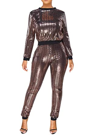85699caae4e Adogirl Womens Sexy 2 Piece Outfits Glitter Sequin Metallic Top and Pants  Set Bodycon Jumpsuit Romper Clubwear at Amazon Women s Clothing store