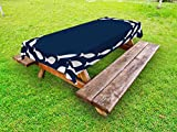 Ambesonne Navy Blue Outdoor Tablecloth, Ocean Aqua Navy Themed School of Cute Fish Swimming in a Circle Print, Decorative Washable Picnic Table Cloth, 58 X 120 inches, Navy Blue and White