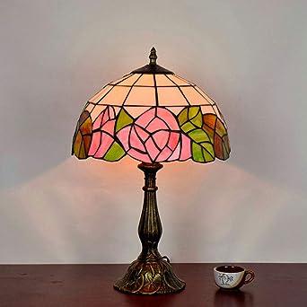 Tiffany Lámpara, Lámpara de mesa retro Tiffany, Rose Lámpara de ...