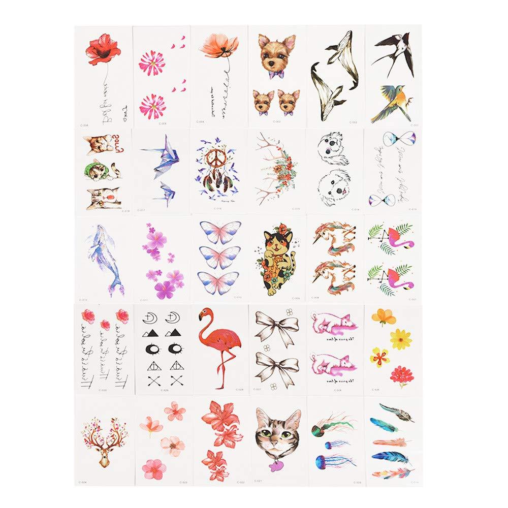 30pcs Sheet Temporary Metallic Tattoo Gold Silver Flash Tattoos Inspired
