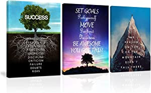 Set Goals, Push Yourself, Don't Quit Motivational Canvas Wall Art 3 Panels Painting Inspirational Entrepreneur Quotes Print Roots of Success Poster Artwork for Office Decor Framed Ready to Hang