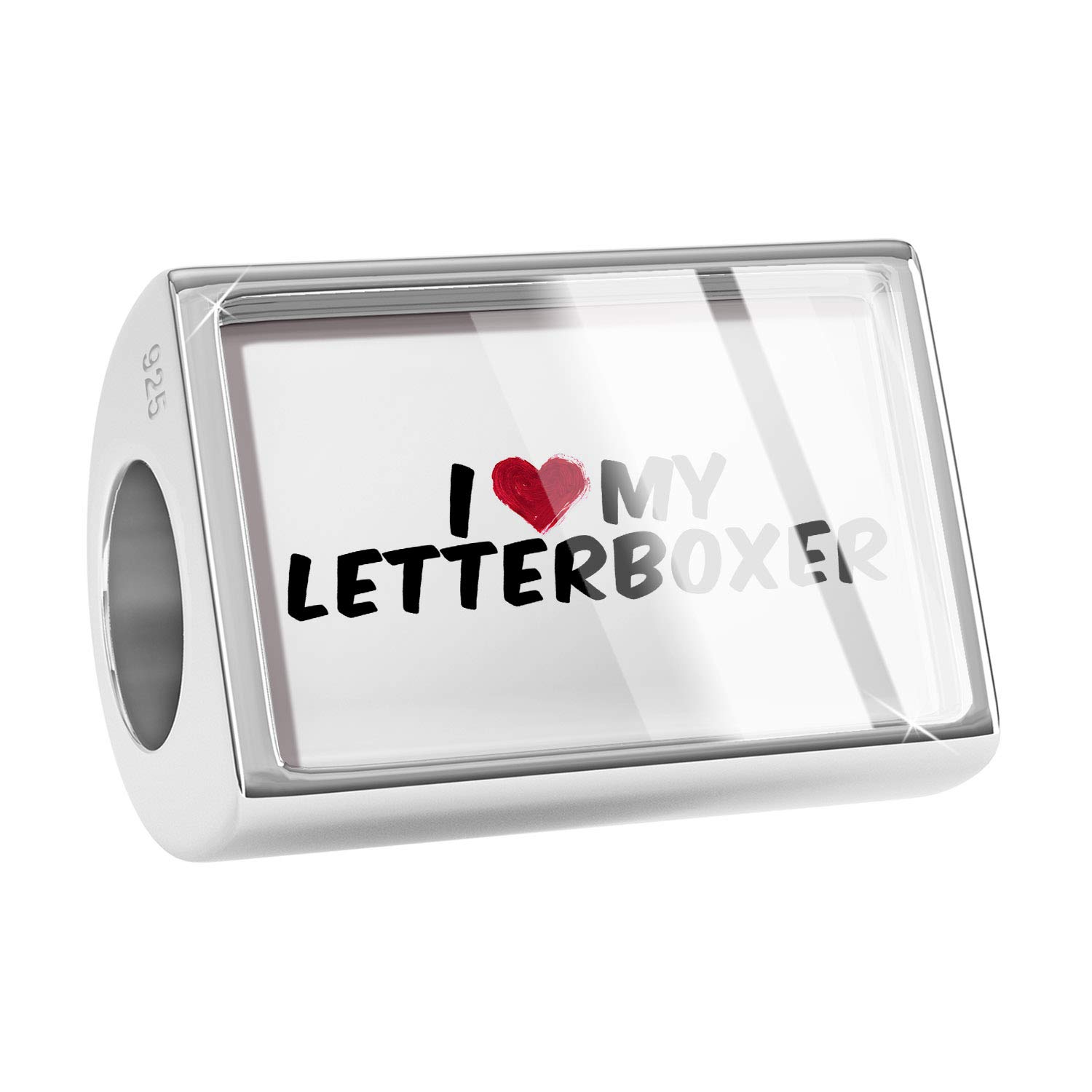 NEONBLOND Custom Charm I Heart Love My Letterboxer 925 Sterling Silver Bead