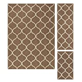 Area Rugs Sets, Maples Rugs [Made in USA][Rebecca] 3 Piece Set Non Slip Padded Large Runner & Rug Living Room, Kitchen, Bedroom - Café Brown/White