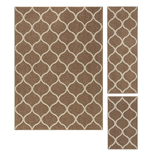 Maples Rugs Area Rugs Sets - Rebecca [3pc Set] Non Slip Large Carpet Runner Rug [Made in USA] for Living Room and Kitchen, Rugs Set, Café Brown/White