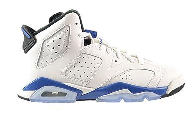 4ac63be5772cfe Amazon.com  Jordan Air 6 Retro BG Big Kids Shoes White Sport Blue ...