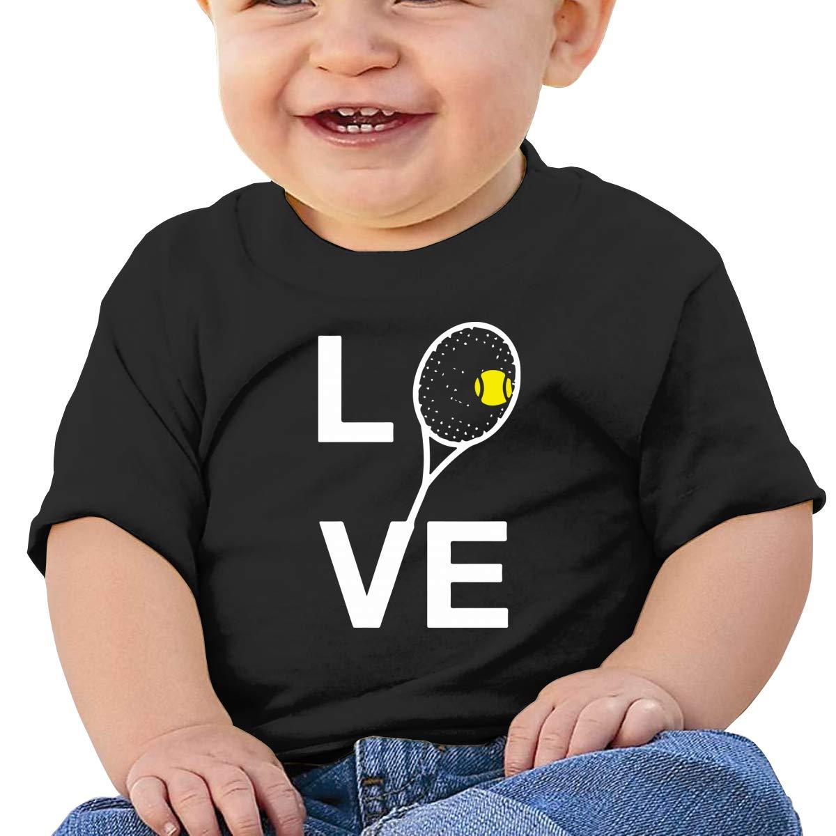Ball and Racquet Newborn Baby Newborn Short Sleeve Tee Shirt 6-24 Month Soft Tops Love Tennis