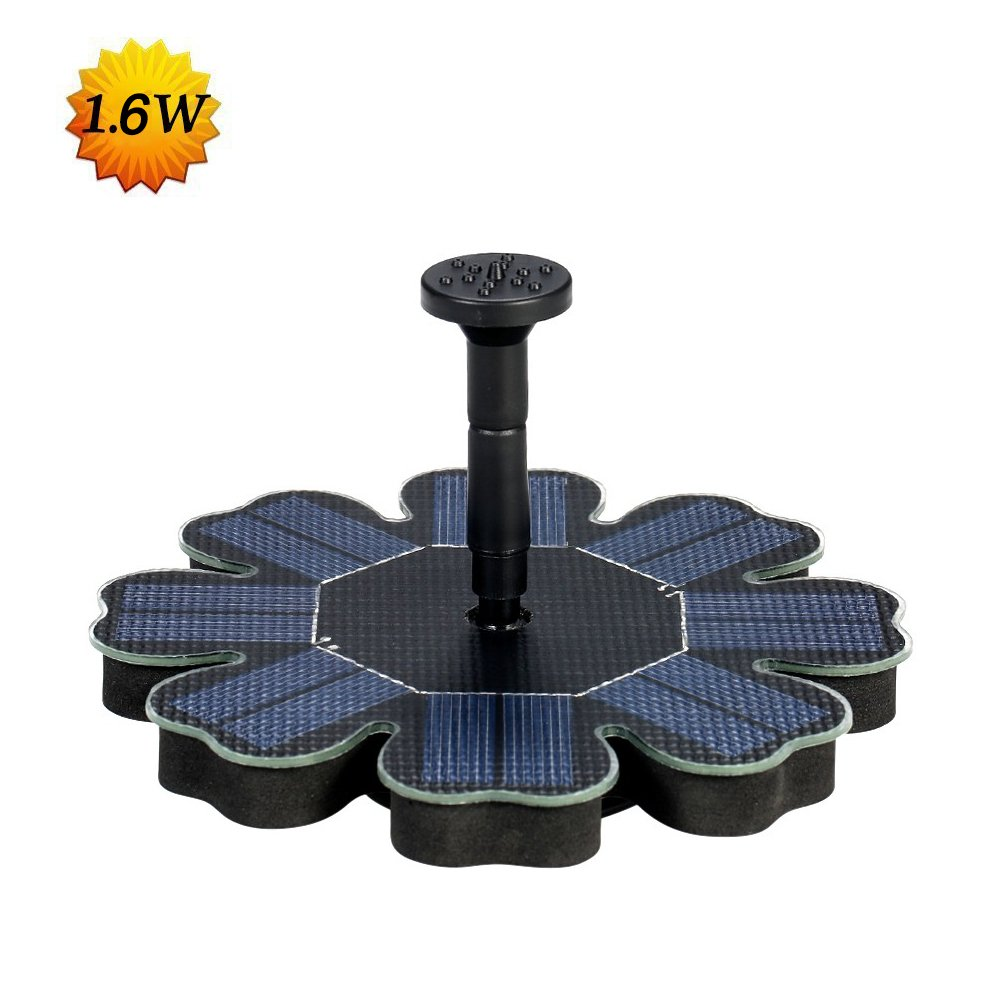 Dugoo Upgraded Solar Fountain Pump 1.6W, Free Standing Solar Panel Kit for Bird Bath,Small Pond,Garden and Lawn with 4 Nozzles