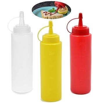 6pcs plastique Presser Bouteilles Avec Capuchon Distributeur Pour moutarde ketchup sauce Huile