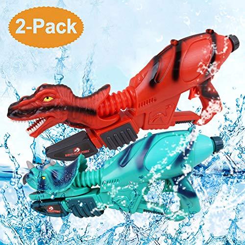 Ancaixin Dinosaur Water Gun Herrera & Triceratops Super Soaker Gun Set Summer Beach Pool Toys Big Squirt Blaster for Kids & Adults Red & Blue 2 Packs