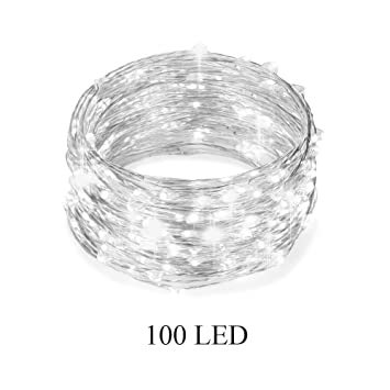 100er LED Kupferdraht Lichterkette Micro LED Perlweiße auf 10m ...