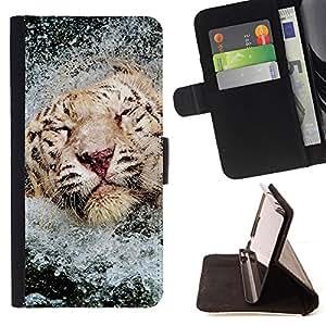 BullDog Case - FOR/Samsung Galaxy S5 Mini, SM-G800 / - / tiger water happy swimming Africa animal /- Monedero de cuero de la PU Llevar cubierta de la caja con el ID Credit Card Slots Flip funda de cuer