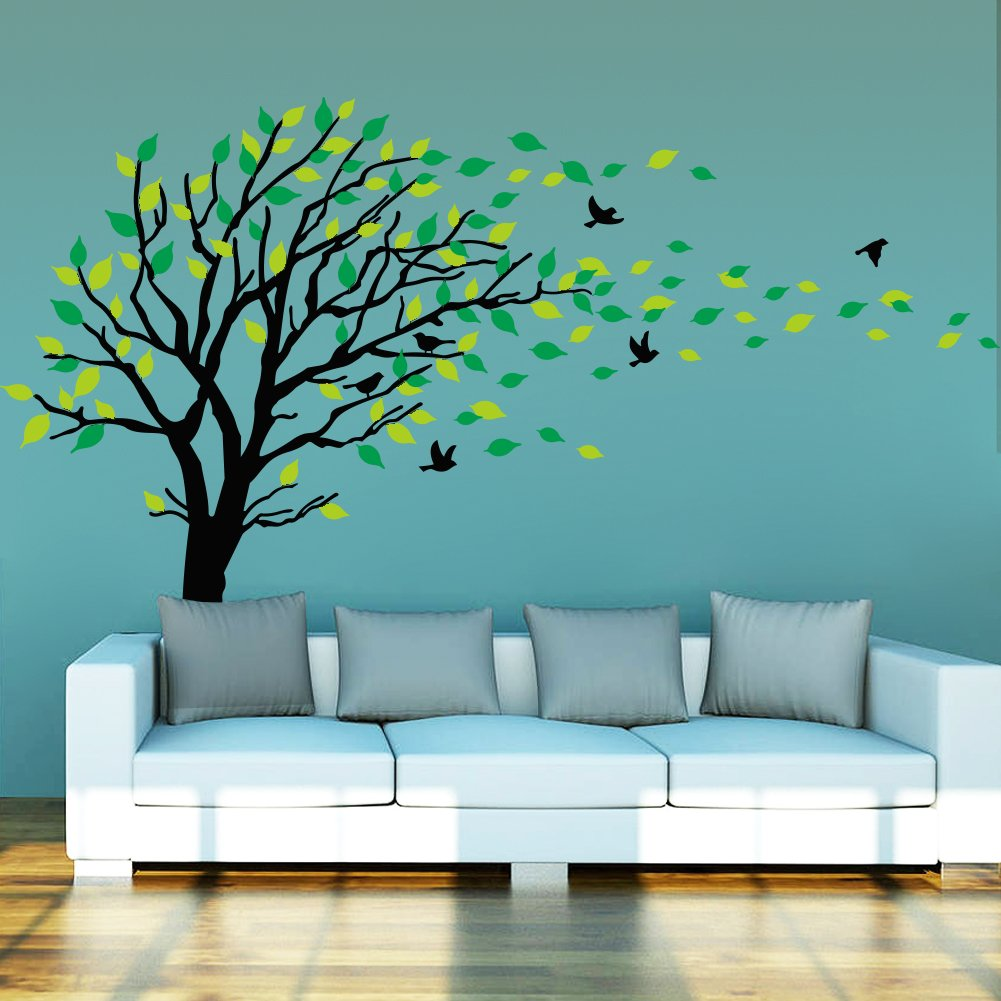 Dushang Black Trunk Large Tree Flying Birds Green Leaf Wall sticker Art Decals Mural Decor Decal Stickers for Living Room Bedroom