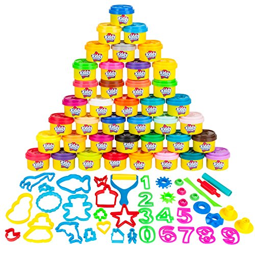KIDDY DOUGH 40 Pack of Birthday Party Favors Bulk Dough & Clay Pack - Includes Molded Animal Shaped Lids + 40 Shapes & Numbers Dough Tools - Holiday Edition - (1oz Tubs - 40oz Total) ()