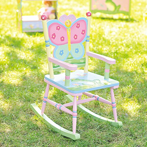 Fantasy Fields - Magic Garden Thematic Kids Wooden Rocking Chair | Imagination Inspiring Hand Crafted & Hand Painted Details   Non-Toxic, Lead Free Water-based Paint (Kids Butterfly Chairs)