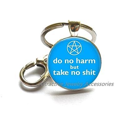 Wiccan joyas - cristal clave Anillo llavero - no hacer daño ...