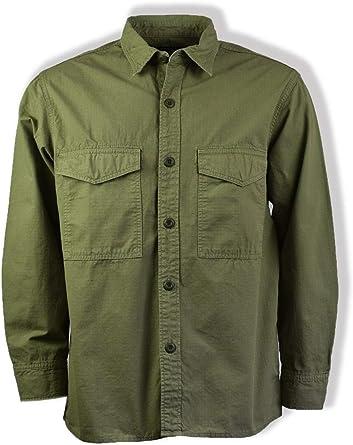 Edwin Camisa Verde Caqui de Manga Larga con Bolsillo de ...