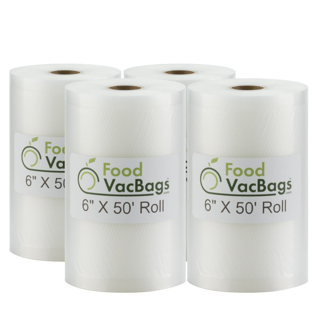 Four 6'' X 50' Rolls of FoodVacBags Vacuum Sealer Bags