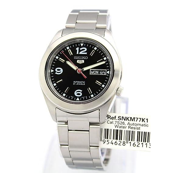 Seiko SNKM77K1 - Reloj de automático para Hombre, con Correa de Acero Inoxidable, Color Plateado: Amazon.es: Relojes