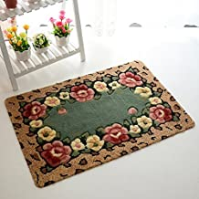 Wolala Home Fashion Simple Beautiful Rose Pattern Area Rug Cozy Cute Flower Door Mat Washable Non-slip Carpet (2'3x4'6, green)