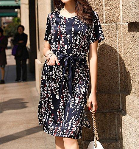 Übergröße Kleid Blau Knee Seide E Long Cocktail Damen girl S9983 Gestreift Kleider Abendkleid q0zKxwpR07