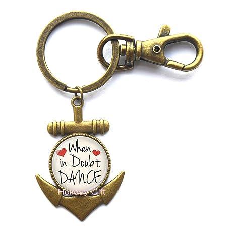 Llavero de cristal con diseño de letra de danza con ancla ...