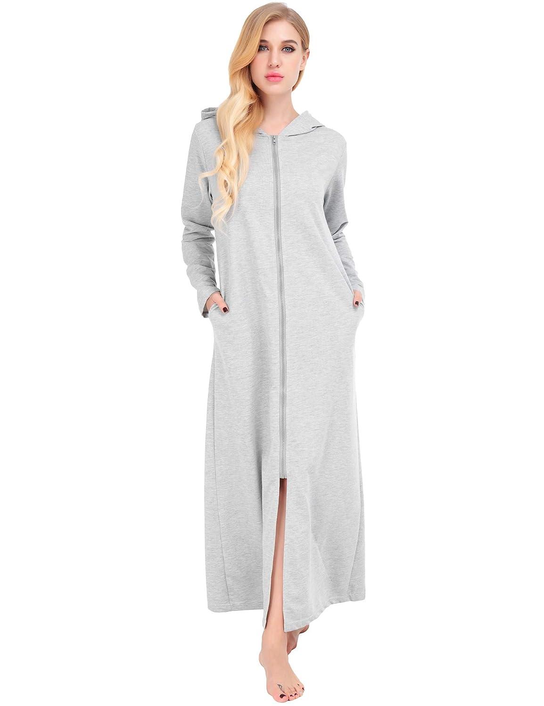 Dromild Albornoz para Mujer con Capucha para la Playa Camisones de algod/ón de Talla Grande Azuloscuro S