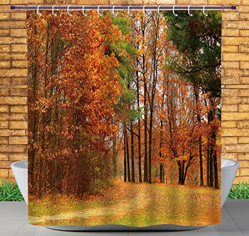 iPrint Upscale Shower Curtain by, Fall Decor,Cloudy Overcast Day in September Shrubs Pines Sidewalk in Park Forest,Orange Green Brown,Bathroom Accessories,with Hooks,72W X 84L Inches