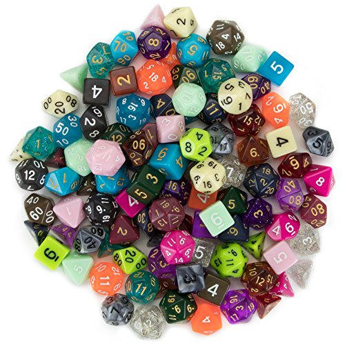 Wiz Dice Series III 100+ Pack of Random Polyhedral Dice Sets, New Neon, Pearl, Translucent, Solid, and Glitter Treatments by Wiz Dice