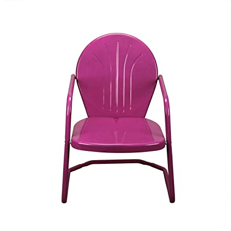 LB International Retro Style 34 Inch Outdoor Metal Tulip Chair, Raspberry Pink