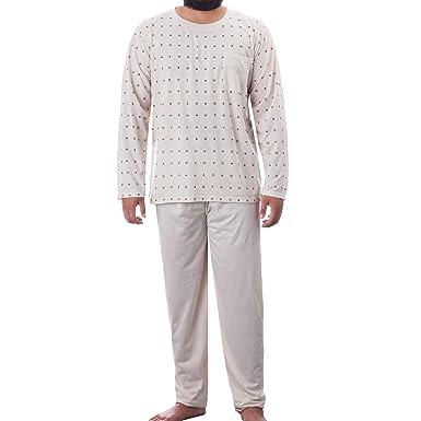 9cd56cfa56 Lucky Herren Pyjama Schlafanzug Rundhals Ausschnitt klassisches Muster  langes Bein und Langarm, Farbe:Beige