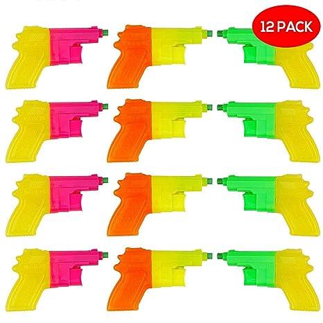 BRAMBLE! 12 Pack Mini Pistolas de Agua Plástico para Niños - Colores Surtidos - Ideales para Juegos Juguetes Regalos Fiesta Cumpleanos Verano Piscina ...