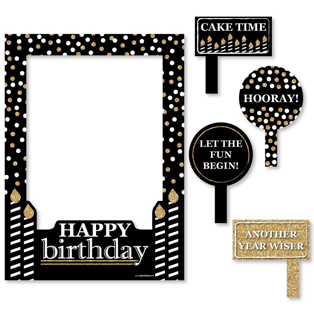 Big Dot of Happiness Adult Happy Birthday - Gold - Birthday Party Selfie Photo Booth Picture Frame & Props - Printed on Sturdy Material
