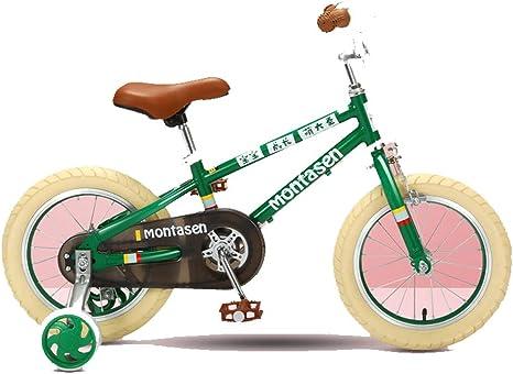 XiangYu Bicicleta para Niños, Material de Aleación de Magnesio, Sistema de Freno de Disco Doble, Manillar y Silla de Montar Ajustables + Rueda Auxiliar Antideslizante Green-16inch: Amazon.es: Deportes y aire libre